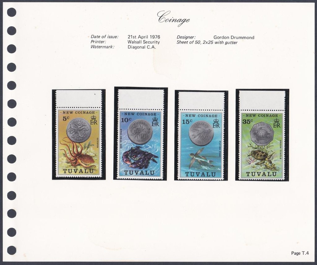 Stamps of Tuvalu. 1976. New coinage. Set of four. SG26-29
