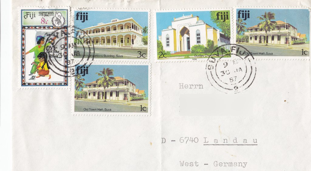 Stamps: Fiji 1979 Architecture, and 1986 International Peace Year, 8c