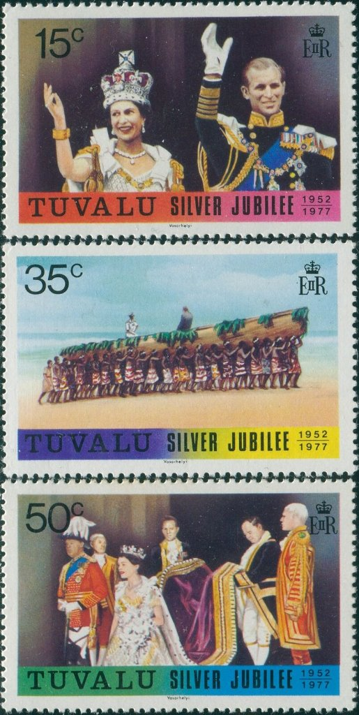 Stamps of Tuvalu. 1977 Silver Jubilee. Set of three. Sg50-52.