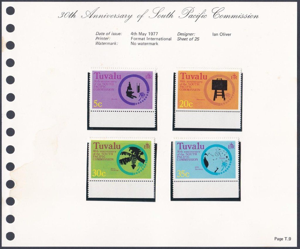Stamps of Tuvalu. 1977. 30th anniversary of the South Pacific Commission. Set of four. SG54-57.