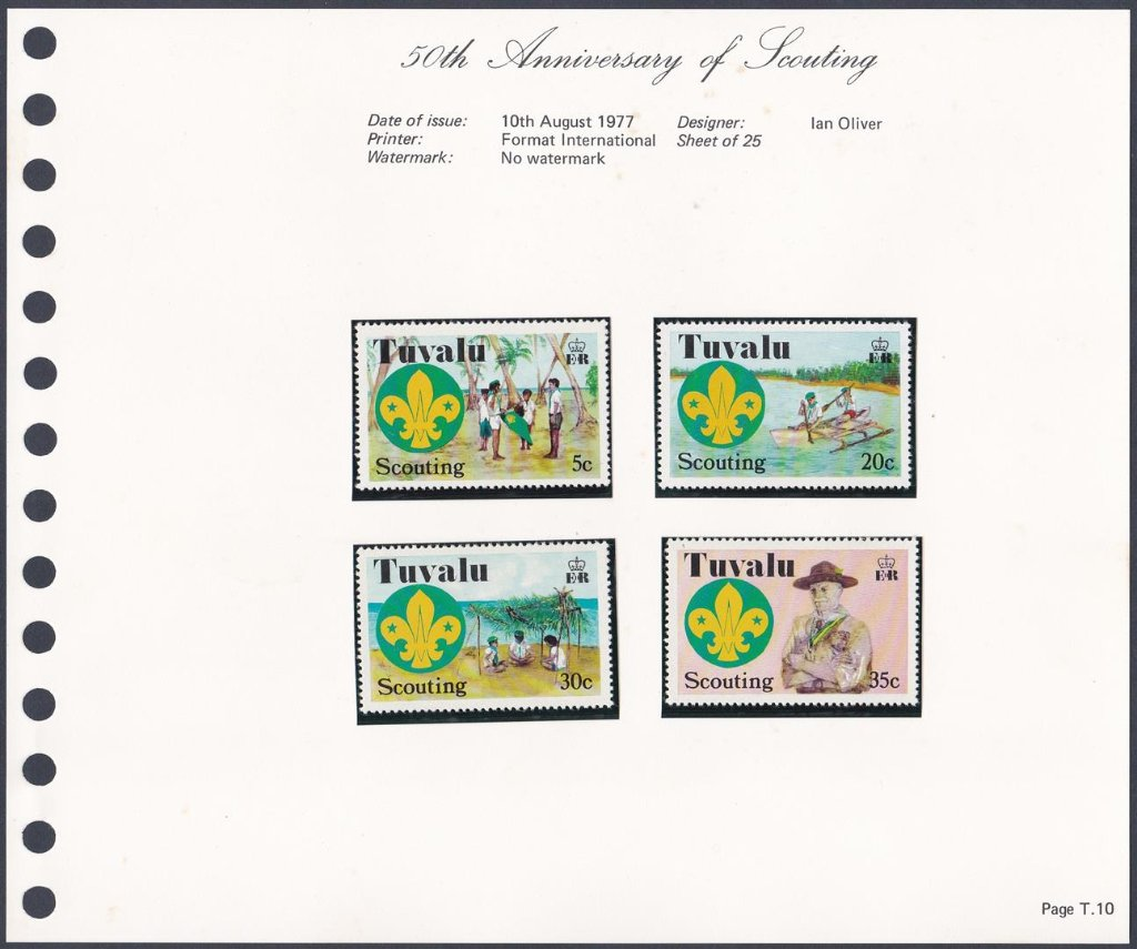 Stamps of Tuvalu. 1977. 50th anniversary of scouting. Set of four. SG73-76.