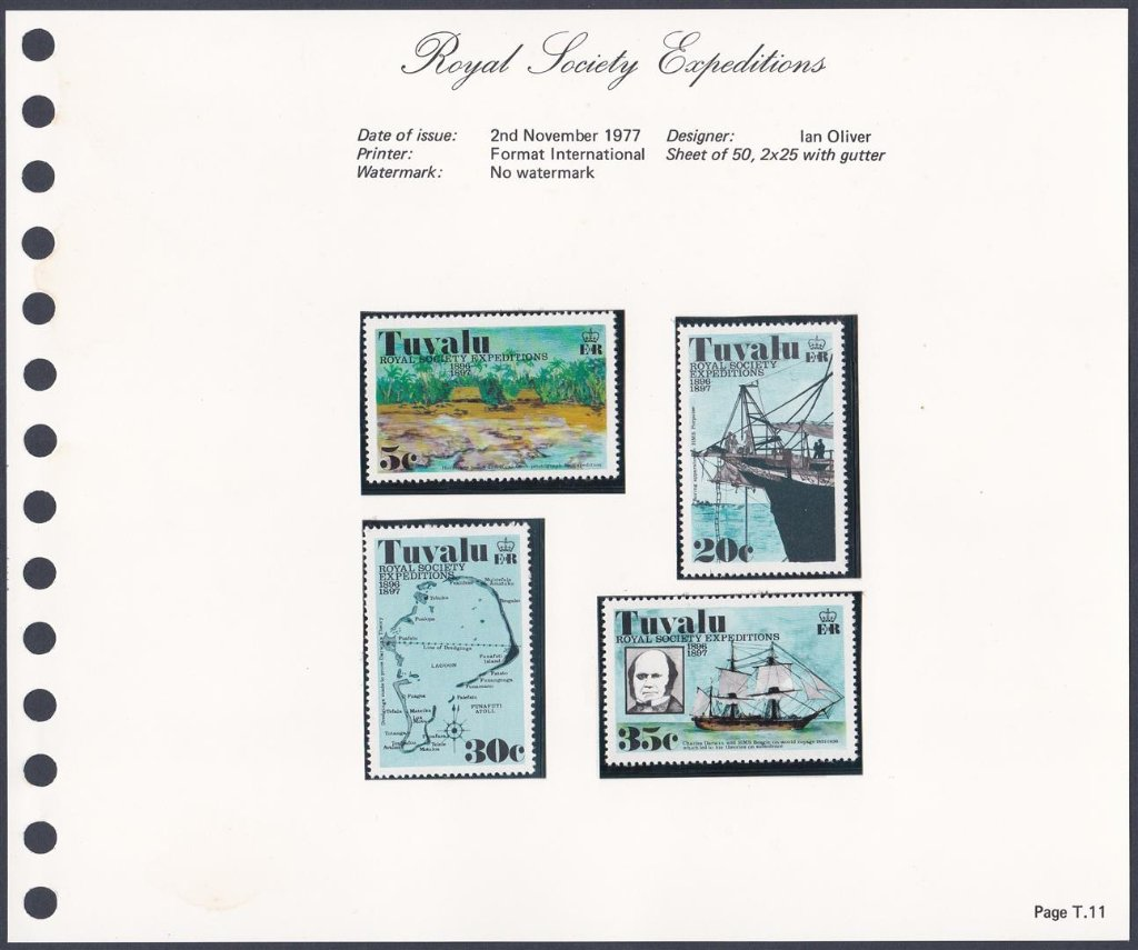 Stamps of Tuvalu. 1977. Royal Society Expeditions. Set of four. SG77-80.