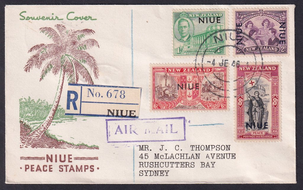 New Zealand Peace stamps overprinted Niue & addressed to Mr J C Thompson of Rushcutters Bay Sydney.