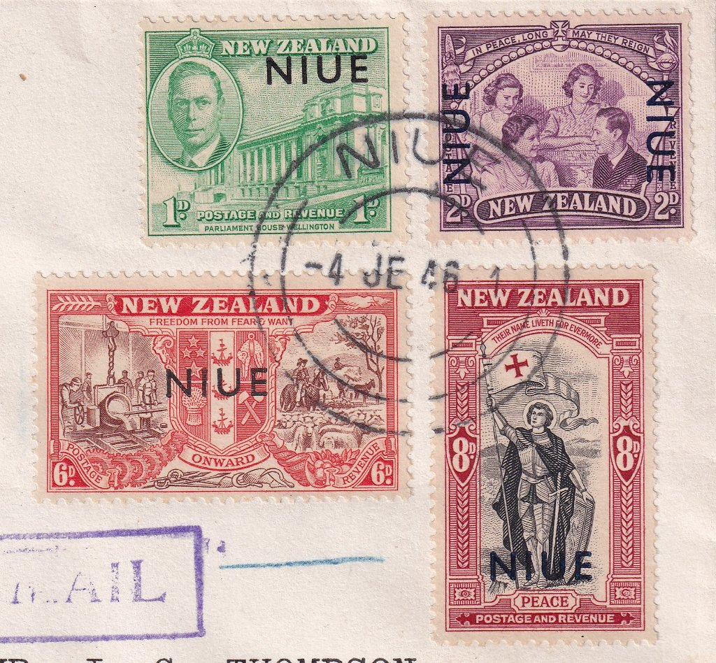 New Zealand Peace stamps overprinted Niue & postmarked Niue 4th June 1946