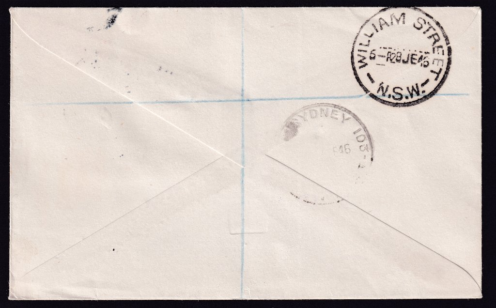 Reverse postmarked GPO Sydney & William Street (Sydney) NSW - 28th June 1946.