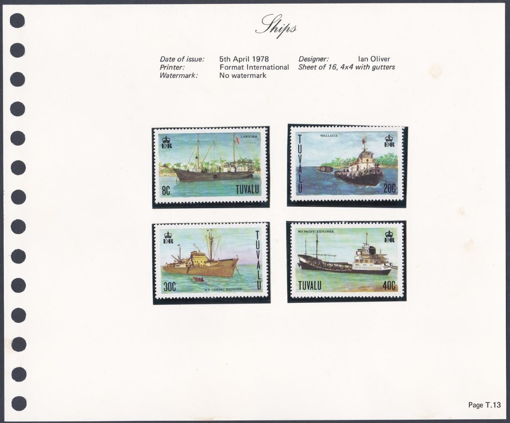 Stamps of Tuvalu. 1978. Ships. Set of four. SG85-88.