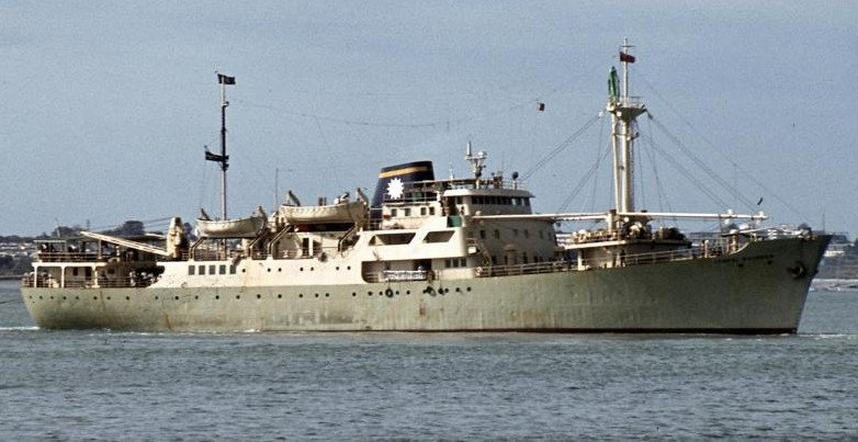 Freighter MV Cenpac Rounder. Auckland Harbour New Zealand. 1977.