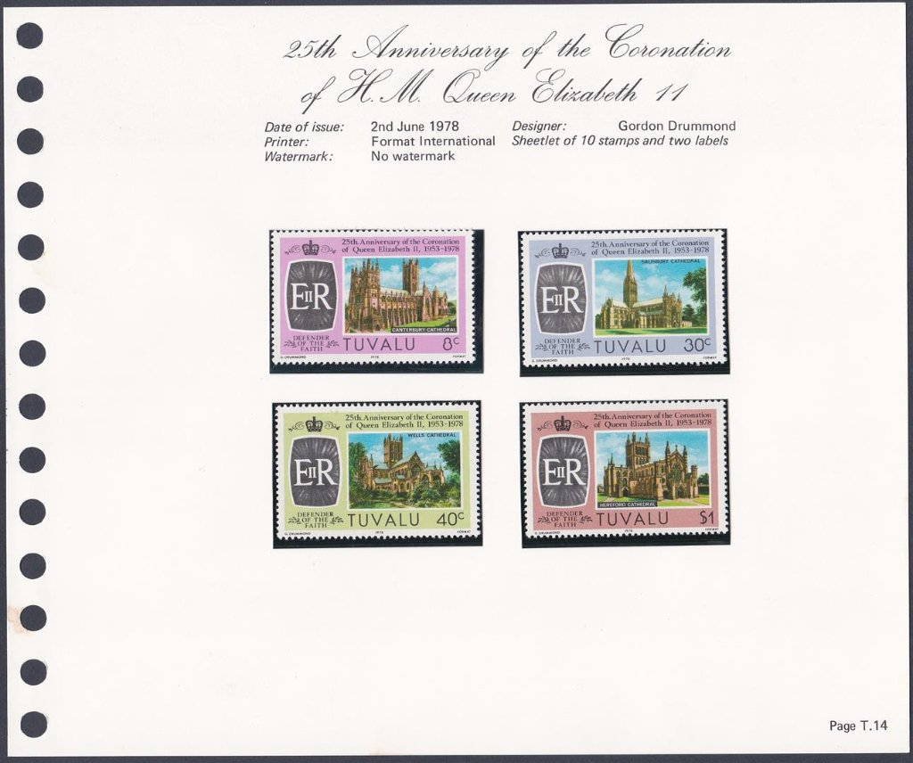 Stamps of Tuvalu. 1978. 25th Anniversary of the Coronation of HM Queen Elizabeth II. Set of four. SG89-92.