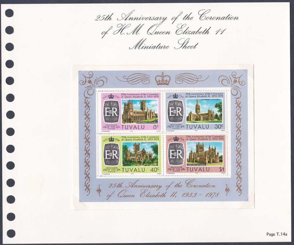 Stamps of Tuvalu. 1978. 25th Anniversary of the Coronation of HM Queen Elizabeth II. Miniature Sheet. SG93.