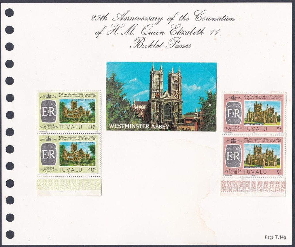 Stamps of Tuvalu. 1978. Coronation. Booklet panes of SG issues 89,90,91 and 92. Two of each.