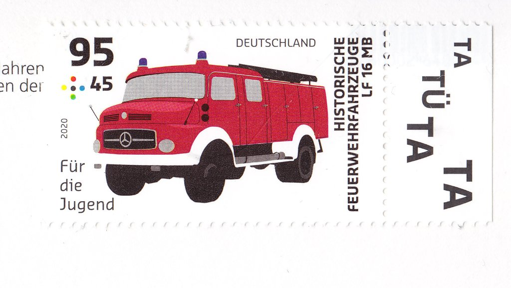 Germany, August 2020 Für die Jugend series, Historical Fire-service vehicles