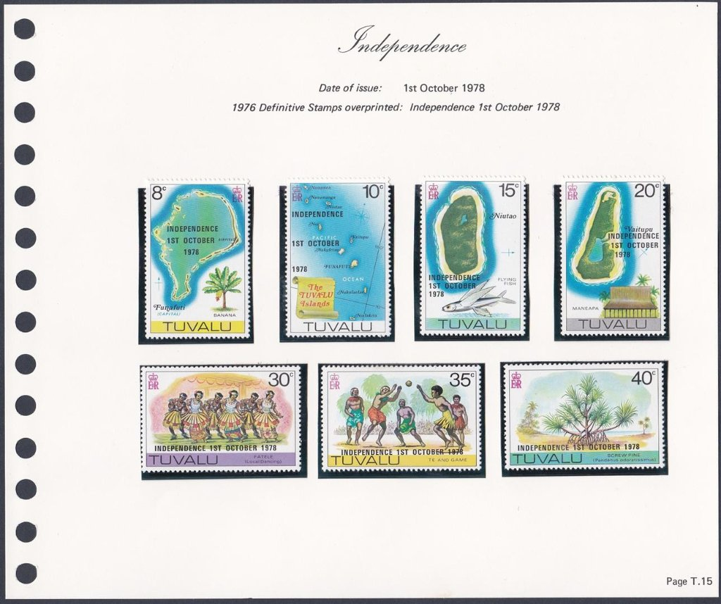 Stamps of Tuvalu. 1978. Independence. Overprint on earlier issues. SG94-100.