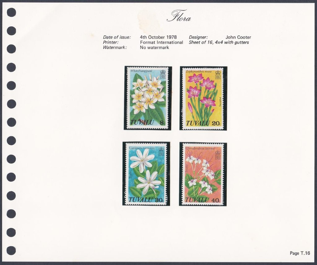 Stamps of Tuvalu. 1978. Flora. Set of four. SG101-104.