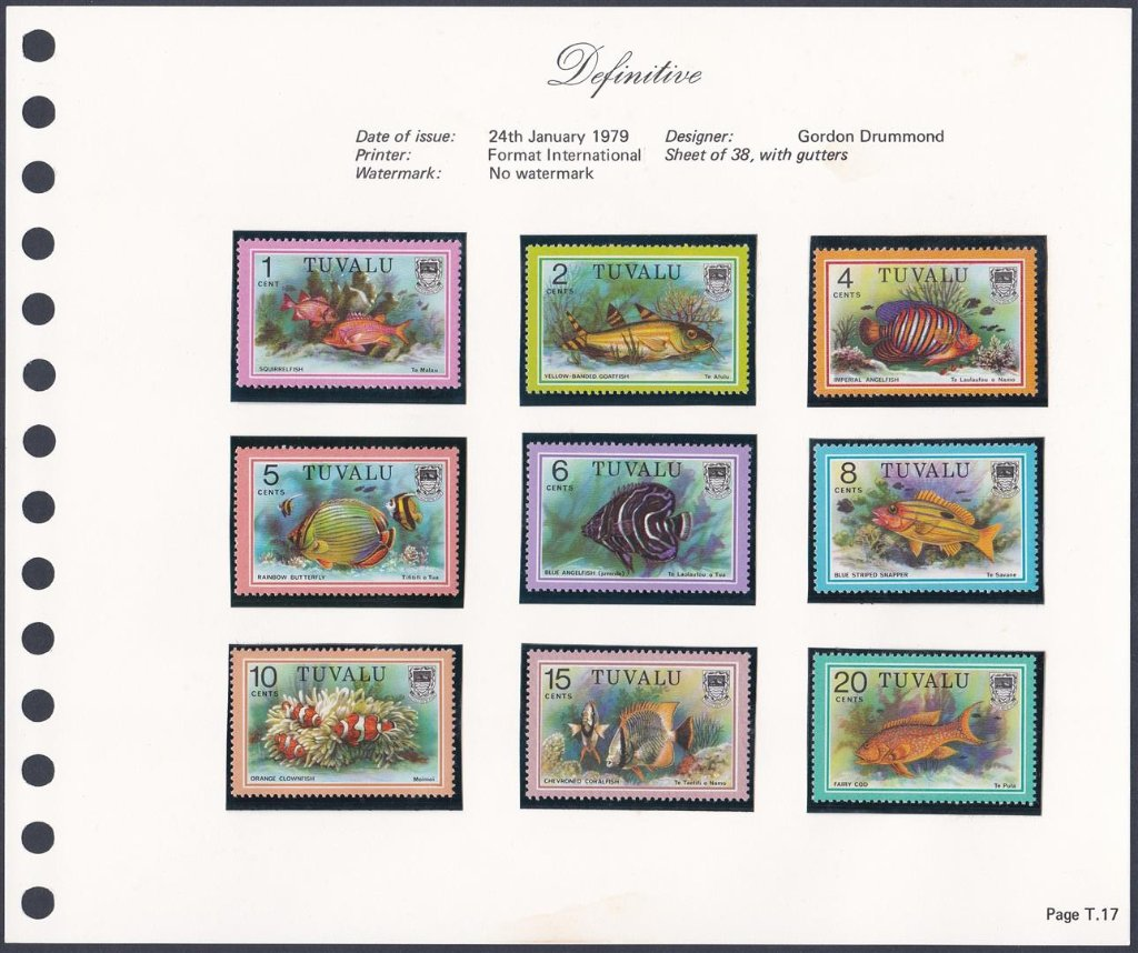 Stamps of Tuvalu. 1979. Fish definitives. 1c to 20c. SG105-11.