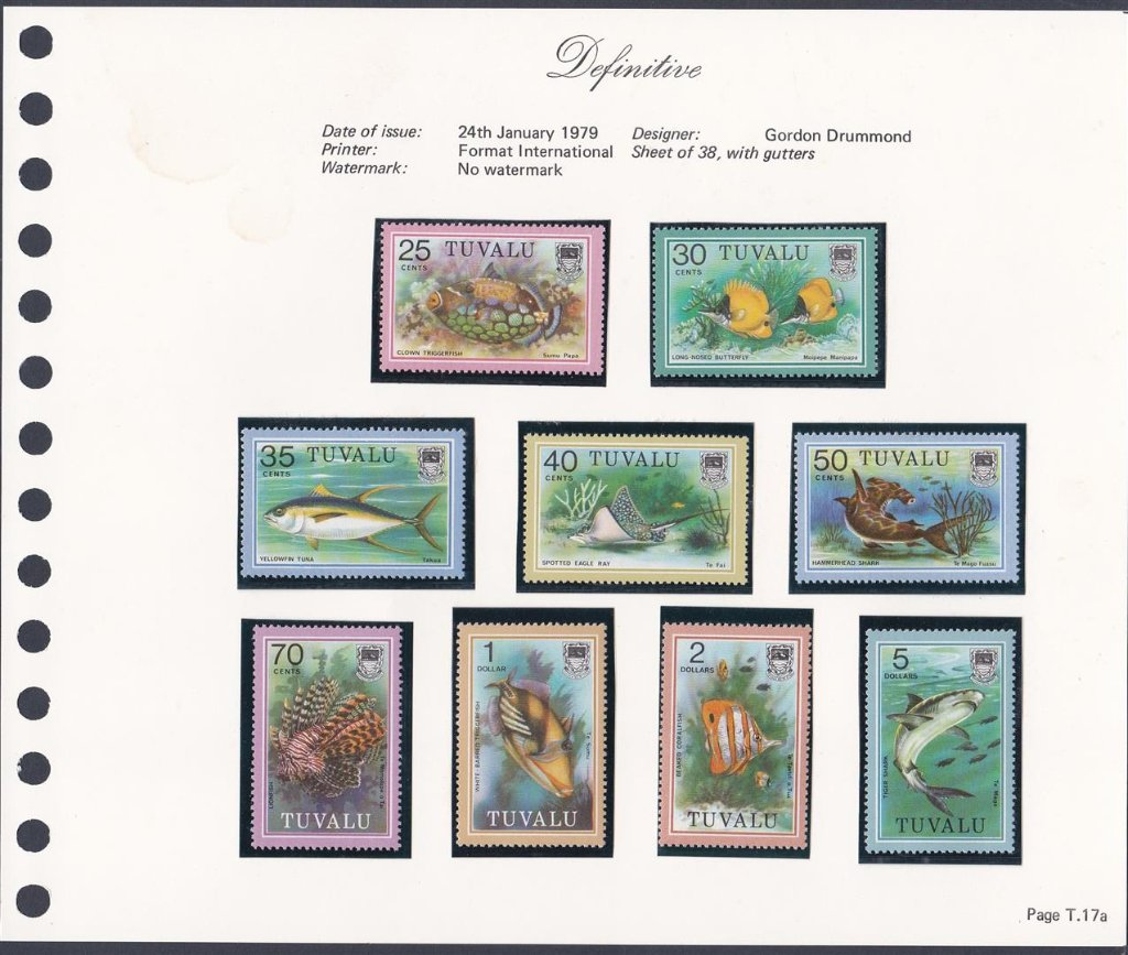 Stamps of Tuvalu. 1979. Fish definitives. 25c to $5.00  SG114-122.