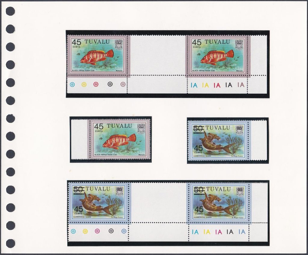 Stamps of Tuvalu. Fish definitives. 45c value and 45c on 50c value. Singles and gutter pairs. SG117b & 157.