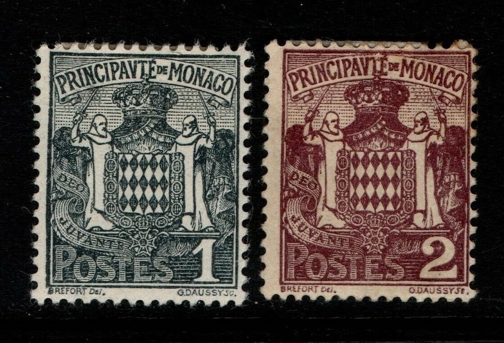 .<br />Monaco, 1924, 1c and 2c arms, SG 73-74.