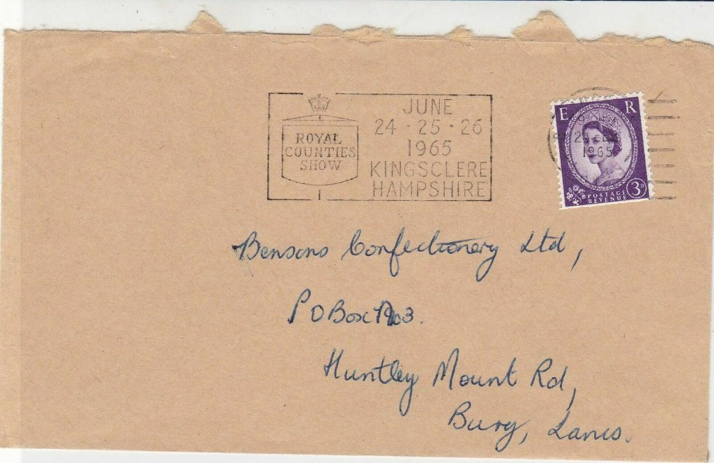 Royal Counties Show<br />June 24-25-26 1965<br />Kingsclere Hampshire<br />Postmarked Basingstoke, 24th February 1965.