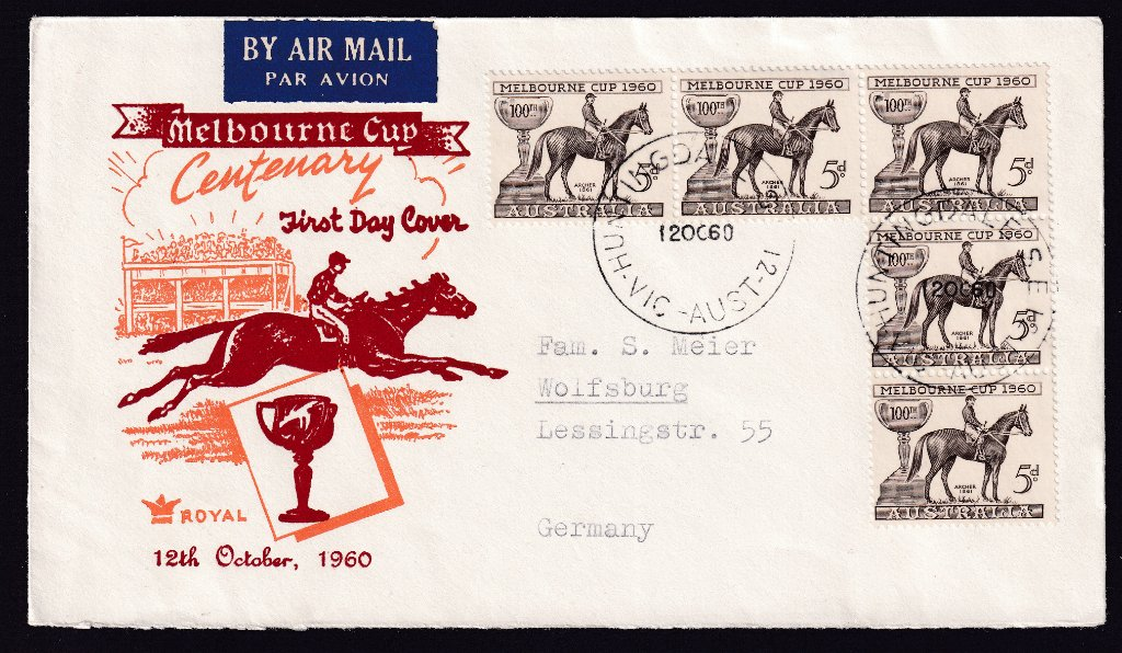 Royal cachet fdc to Germany postmarked Huntingdale Vic