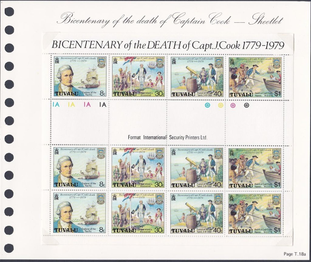 Stamps of Tuvalu. 1979. Bicentenary of Captain Cook's death. Sheetlet. SG123--126.