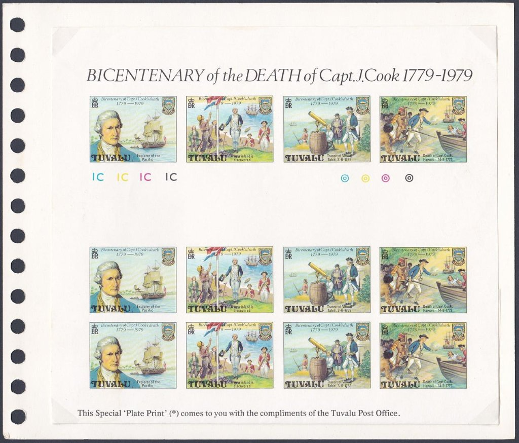 Stamps of Tuvalu. 1979. Bicentenary of Captain Cooks death. Special plate print.