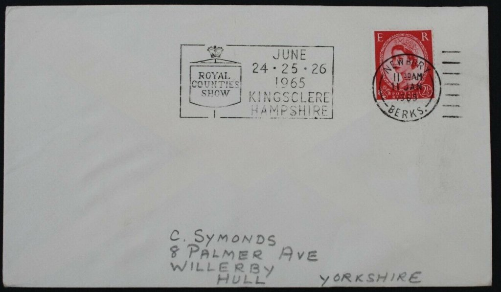 Royal Counties Show<br />June 24-25-26 1965<br />Kingsclere Hampshire<br />Postmarked Newbury, 11th January 1965.