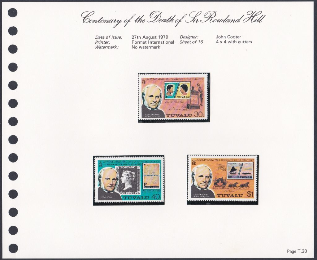 Stamps of Tuvalu. 1979. Centenary of the Death of Sir Rowland Hill. Set of three. SG131-133.