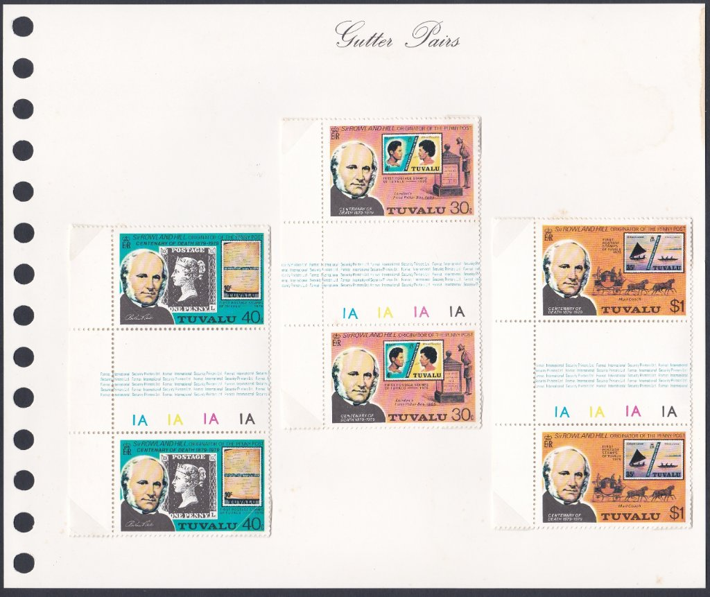 Stamps of Tuvalu. 1979. Centenary of the Death of Sir Rowland Hill. Set of three in gutter pairs. SG131-133.