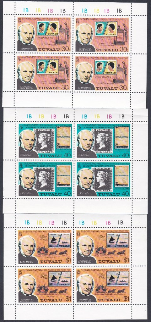 Stamps of Tuvalu. 1979. Centenary of the Death of Sir Rowland Hill. Set of three in sheetlets of four. SG131-133.
