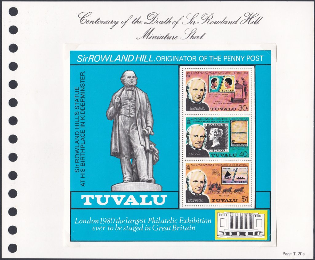 Stamps of Tuvalu. 1979. Centenary of the Death of Sir Rowland Hill. Miniature Sheet. SG134.