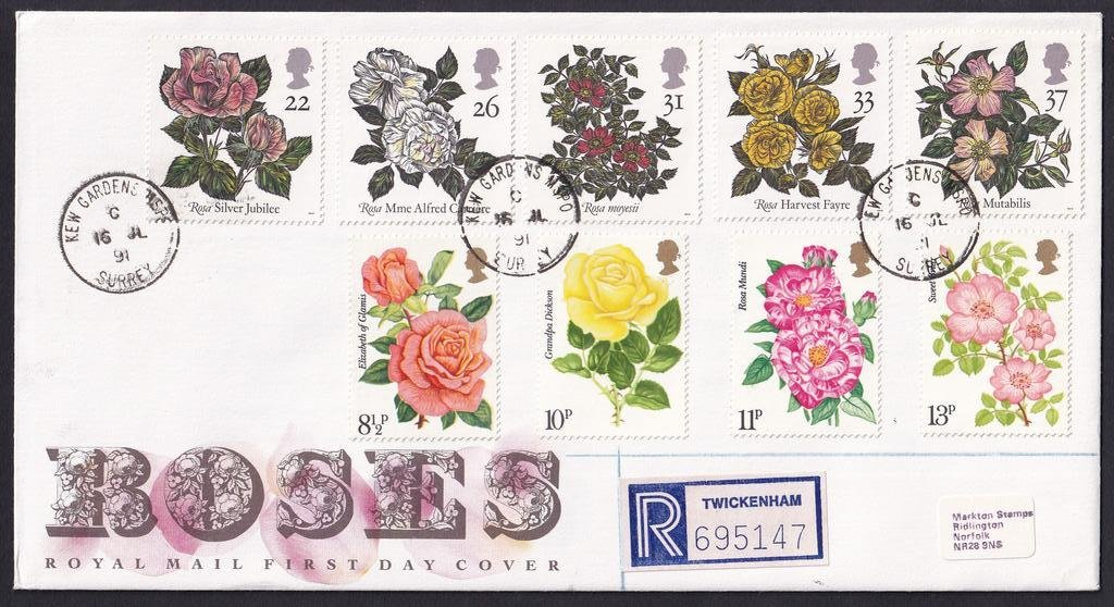 Royal Mail Roses 1991 fdc with 1976 Roses SG#1006-1009 Stamps & 1991 World Congress of Roses SG#1568-1572 stamps added