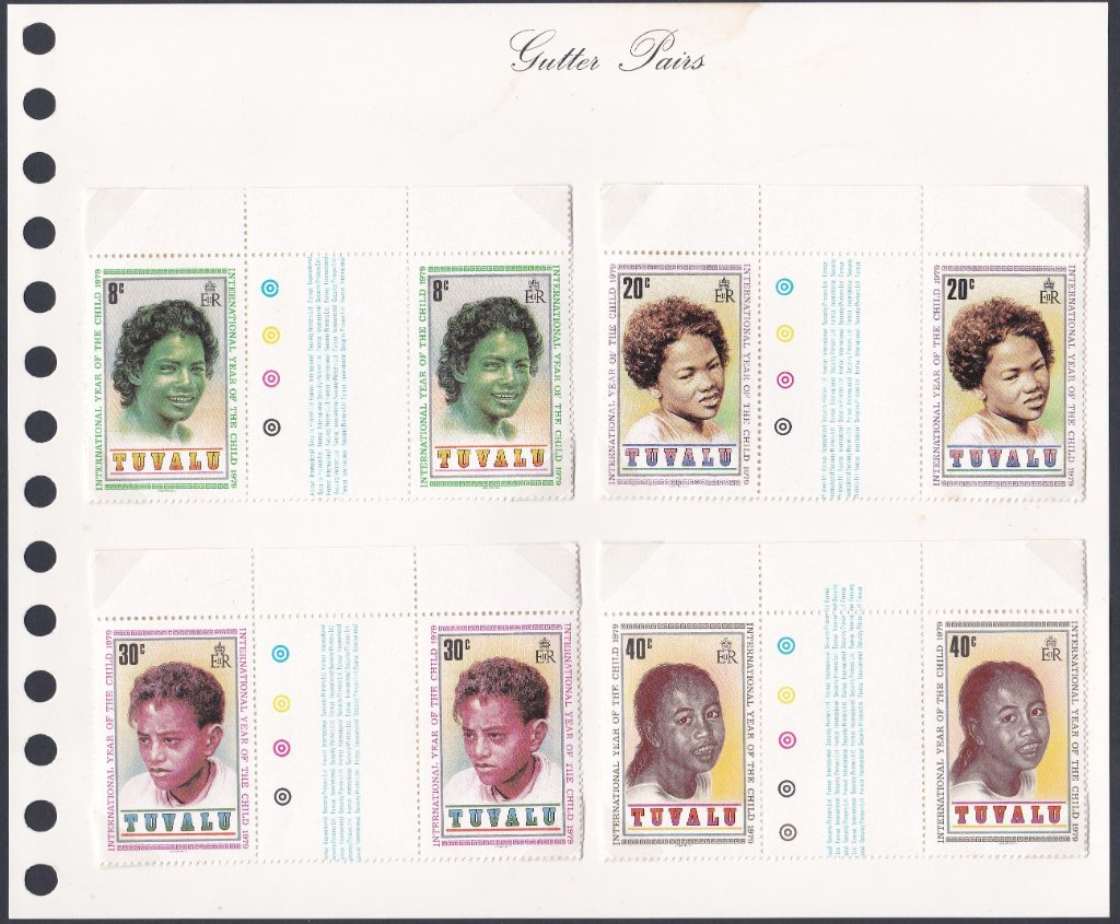 Stamps of Tuvalu. 1979. International Year of the Child. Set of four in gutter pairs. SG135-138.