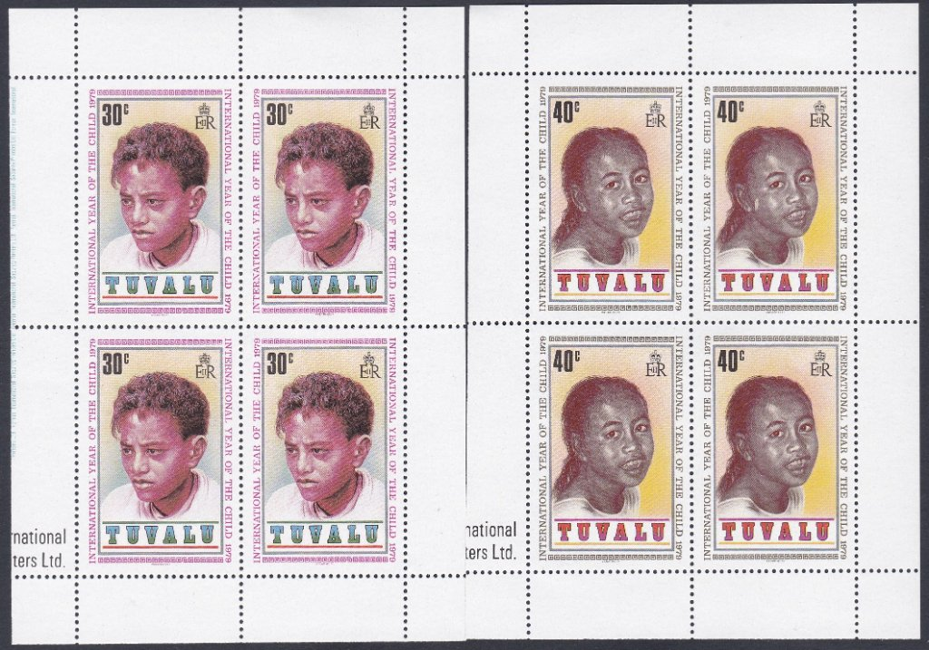 Stamps of Tuvalu. 1979. International Year of the Child. Set of four in sheetlets of four. SG135-138.