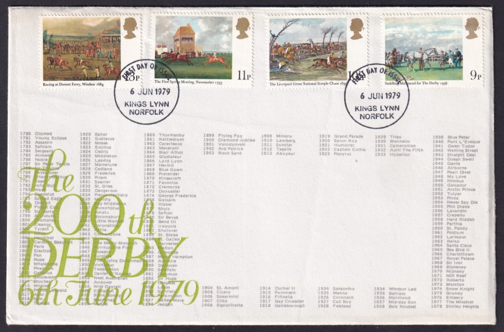 South Wootton Community Hall Fund Raising Committee fdc for Horse Racing stamps postmarked Kings Lynn fdi June 6th 1979.<br /><br />Cachet shows the names of all of the previous Derby winners.