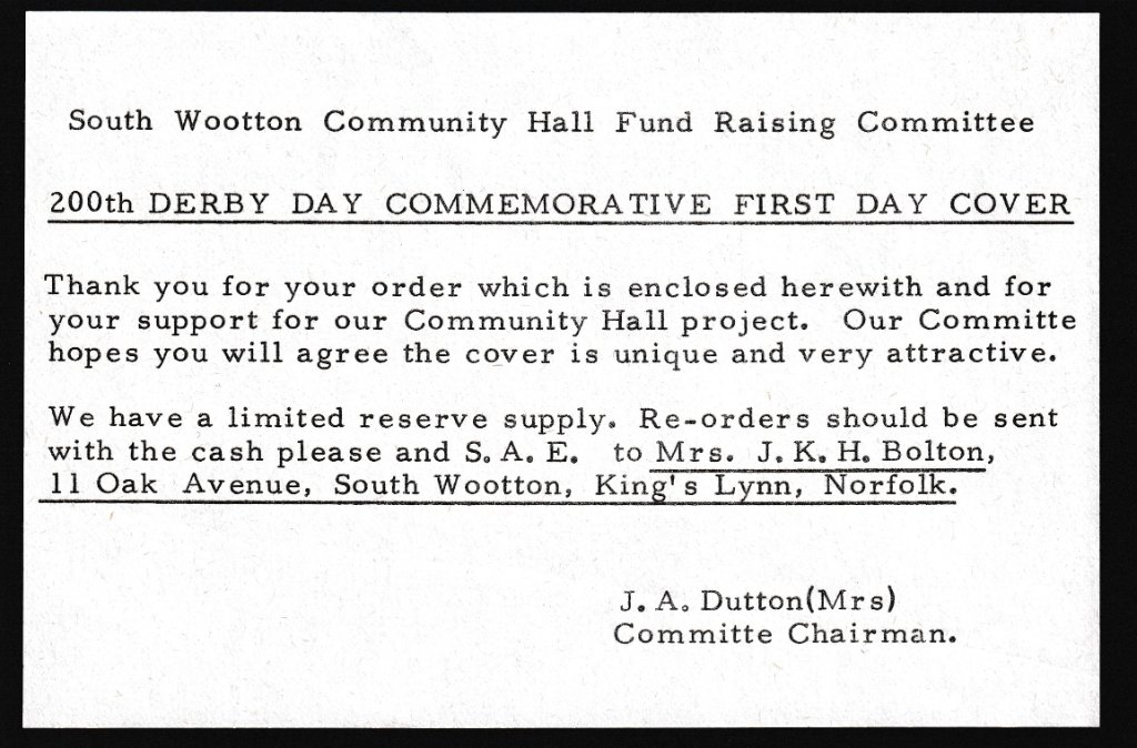 South Wootton Community Hall Fund Raising Committee insert.