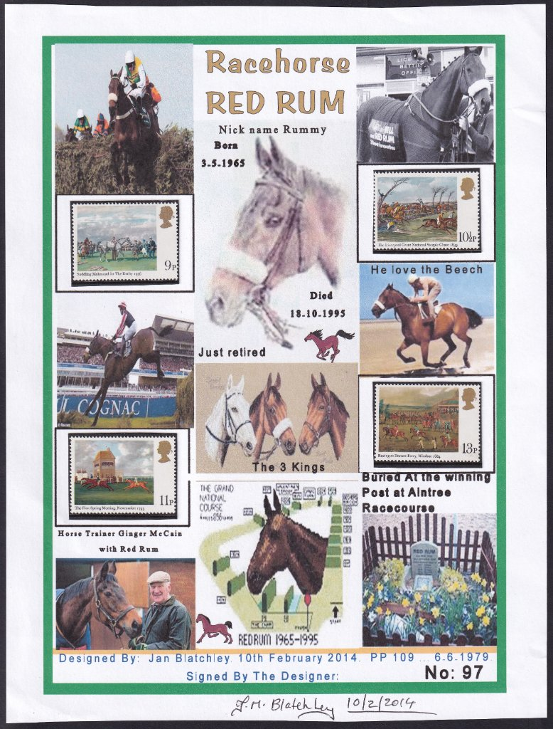 Red Rum collage produced by Jan Blatchley of Reading, Berkshire, UK