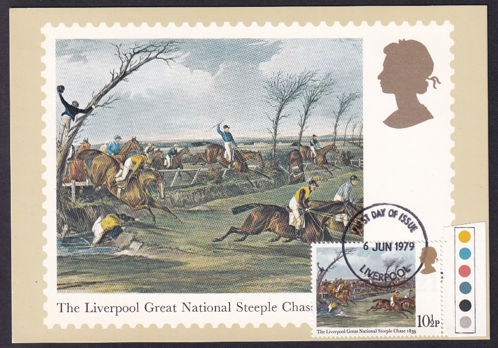 1979 Horse Racing PHQ card for 10½p stamp, The Liverpool Great National Steeplechase 1839 postmarked with the Liverpool fdi on 6th June 1979: