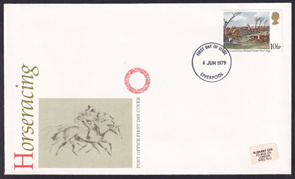 British Post Office 1979 Horse Racing stamp fdc postmarked for 10½p stamp, The Liverpool Great National Steeplechase 1839 postmarked with the Liverpool fdi on 6th June 1979
