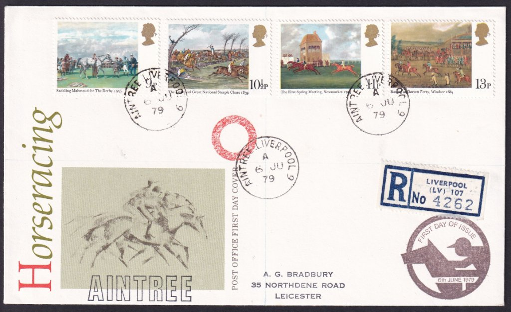 British Post Office overprinted Aintree - Registered 1979 Horses Racing fdc , prepared by & addressed to A G Bradbury, Leicester.