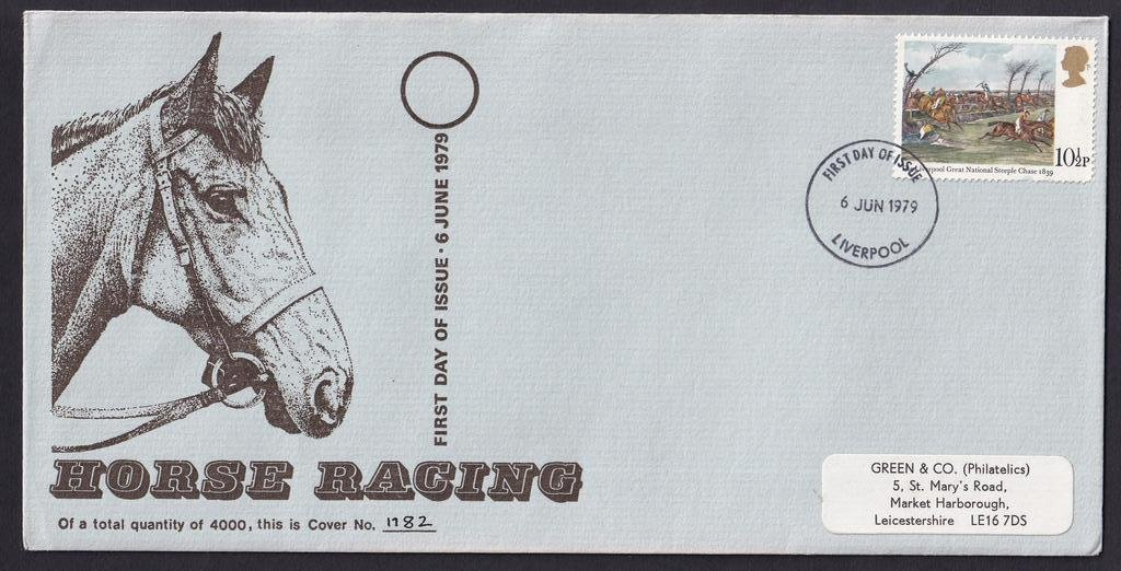 1979 Horse Racing first day cover by Green & Co (Philatelics) postmarked with the Liverpool fdi postmark on 6th June 1979.