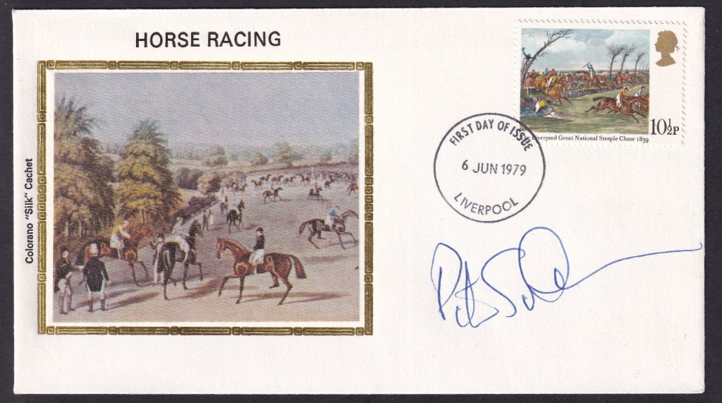 Colorano Silk fdc for the 10½p stamp, The Liverpool Great National Steeplechase 1839 postmarked with the Liverpool fdi on 6th June 1979 & signed by Peter Scudamore.