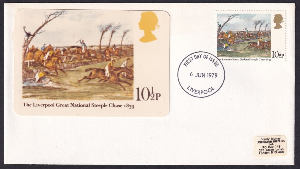 Quadrocolorplus fdc for the 10½p stamp, The Liverpool Great National Steeplechase 1839 postmarked with the Liverpool fdi on 6th June 1979 perhaps done by the addressee, Henry Murray of Arlington Supplies, London.