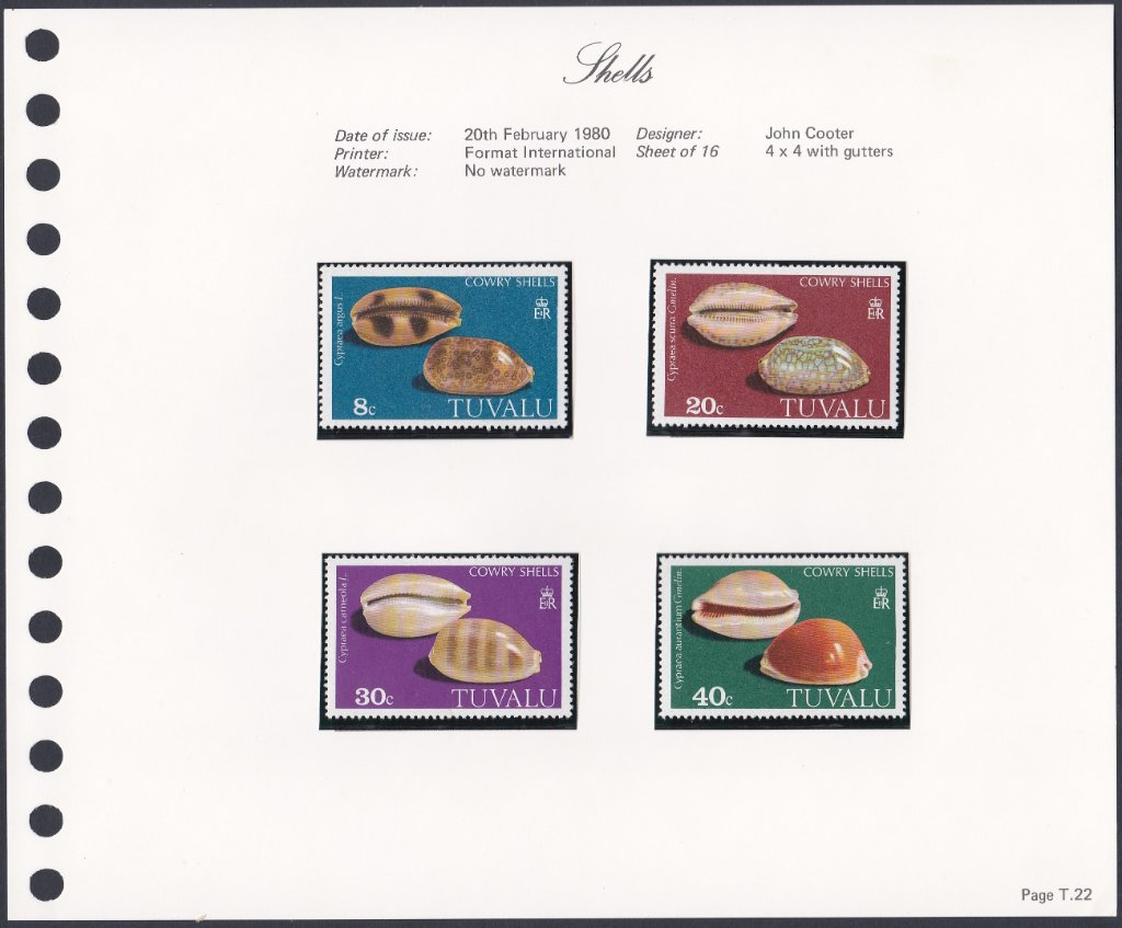 Stamps of Tuvalu. 1980. Shells. (Cowries). Set of four. SG139-142.