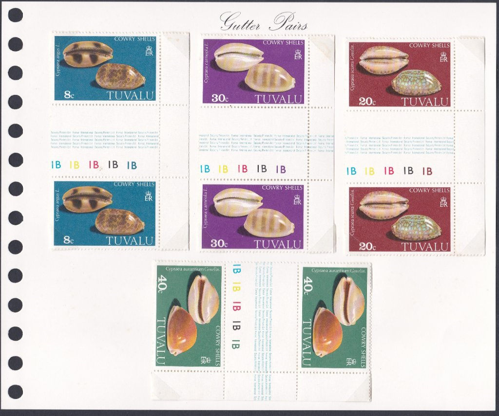 Stamps of Tuvalu. 1980. Shells. (Cowries). Set of four in gutter pairs. SG139-142.
