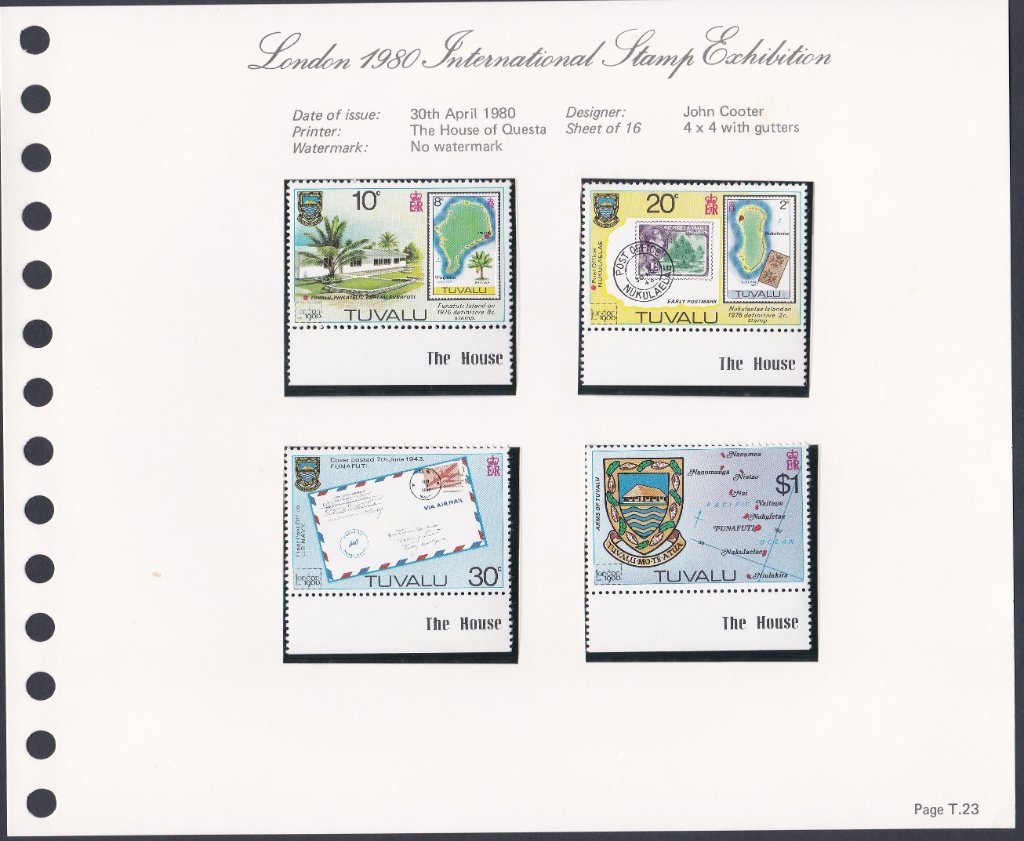 Stamps of Tuvalu. 1980. London International Stamp Exhibition. Set of four. SG143--146.