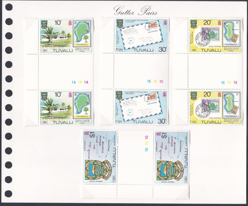 Stamps of Tuvalu. 1980. London International Stamp Exhibition. Set of four in Gutter Pairs. SG143-146.