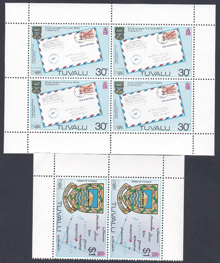 Stamps of Tuvalu. 1980. London International Stamp Exhibition. Set in sheetlets of four and a pair.