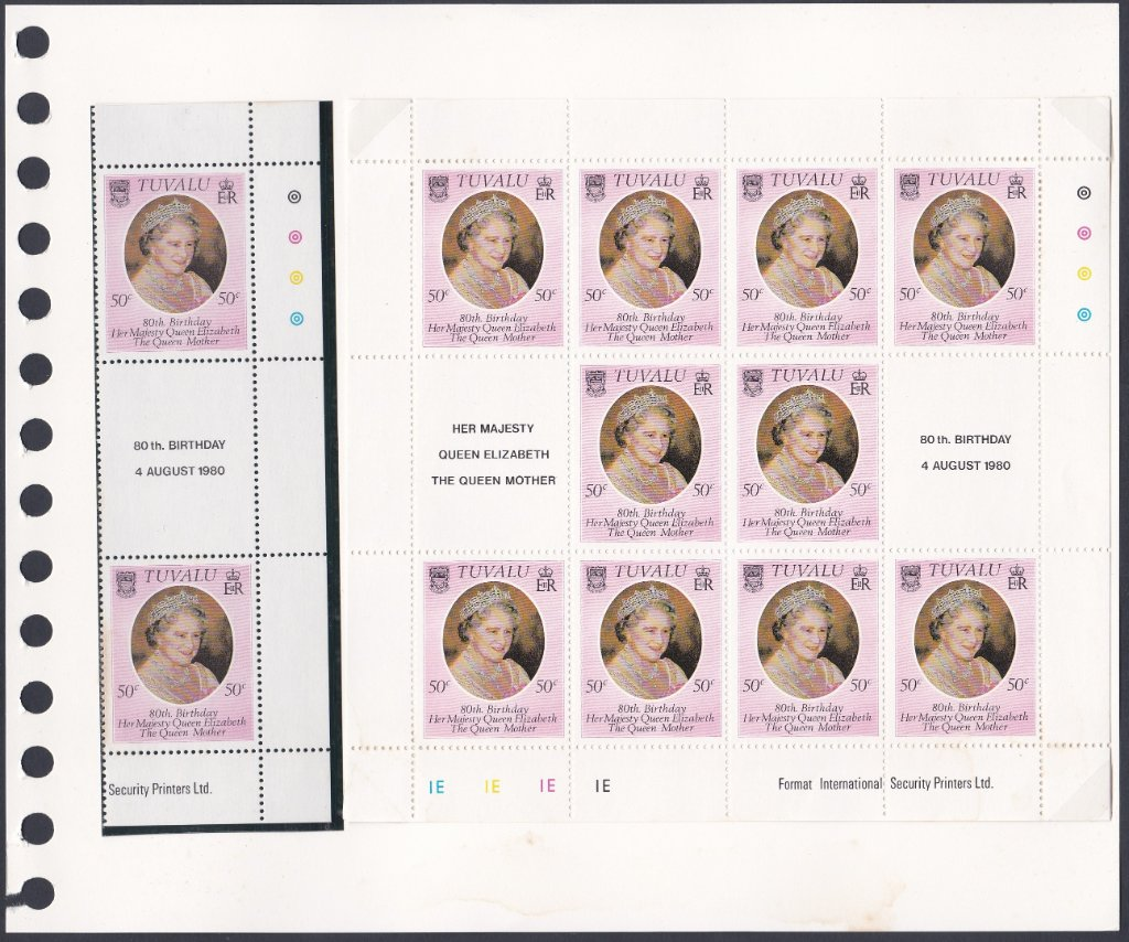 Stamps of Tuvalu. 1980. oth Birthday of the Queen Mother. SG148. Gutter pair & sheetlet of ten.