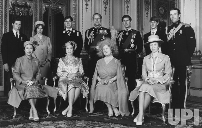 The Queen Mother. Front row number 3. With assorted relatives.