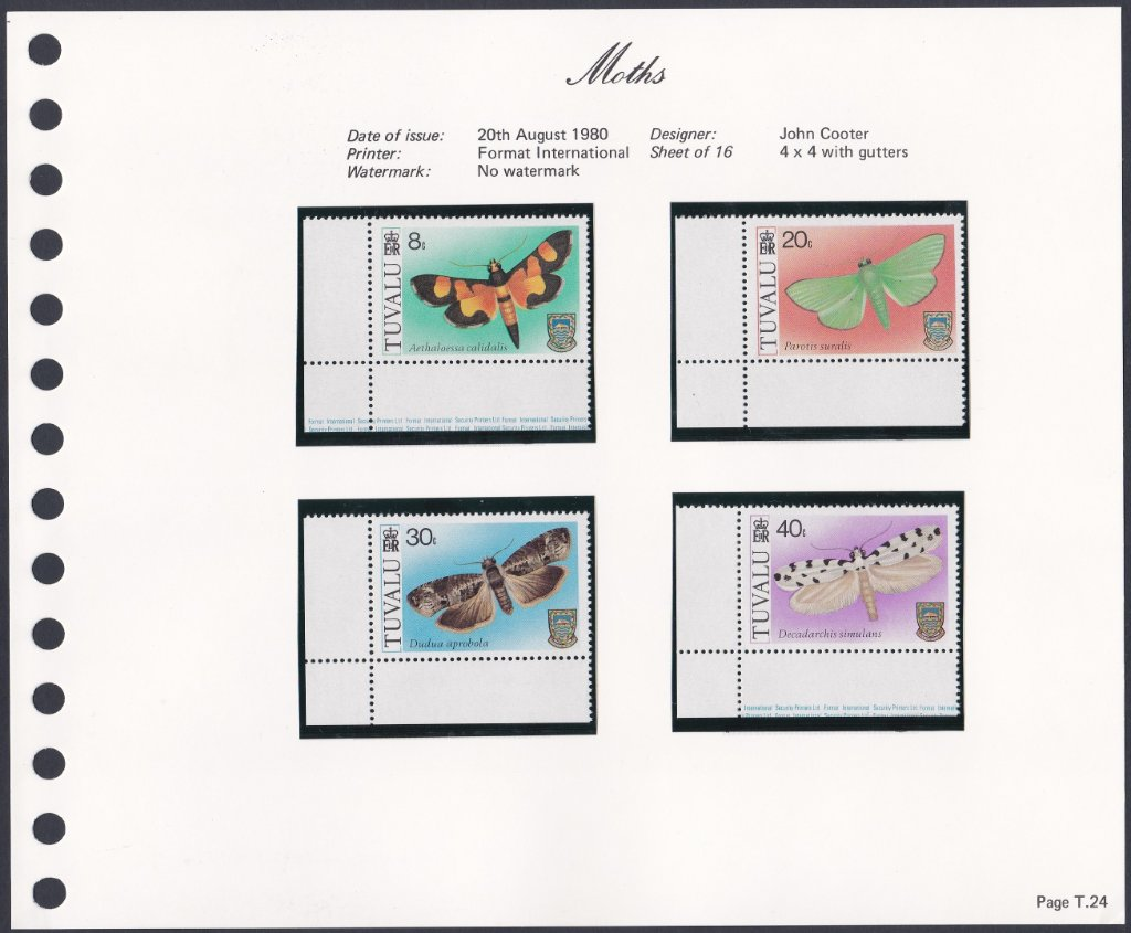 Stamps of Tuvalu. 1980. Moths. Set of four. SG149-152.